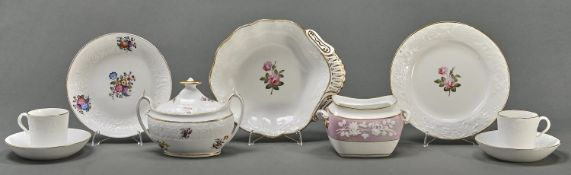 A group of Spode Swag and Dolphin Embossed bone china tea and dessert ware, c1812-15, painted with