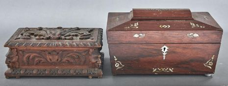 An early Victorian rosewood and mother of pearl inlaid tea caddy, of sarcophagus shape with fitted