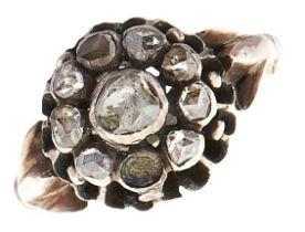 A Georgian rose diamond ring, later associated gold hoop, 2.2g, size I Lacks one stone, wear