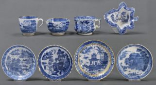 A Coalport fluted blue and white trio, c1800, printed with the Banana Tree pattern, saucer 14cm