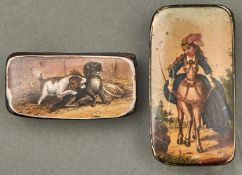 Two Victorian papier mache snuff boxes, c1840, the lid printed and painted with a risque scene of