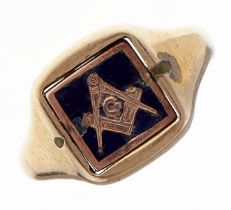 A 9ct gold and enamel freemason's signet ring, reversible, 5.5g, size P Wear consistent with age
