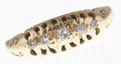 A five stone diamond ring, in 18ct gold, Birmingham 1912, 2g, size K½ Wear consistent with age