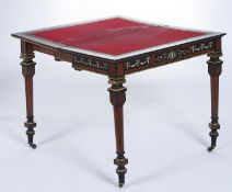 A French gilt brass mounted, ivory inlaid and penwork decorated amboyna and ebony card table, c1870,