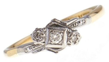 A three stone diamond ring, in gold marked 18ct & PLAT, 3.1g, size R Good condition