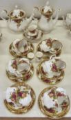 A Royal Albert Old Country Roses pattern tea and coffee service, printed mark First quality and good