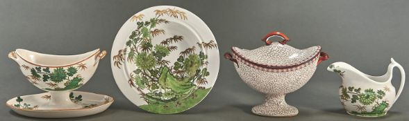 Two Spode creamware sauce tureens, early 19th c, patterns 1504 and 1665, one with cover, 11 and 14cm