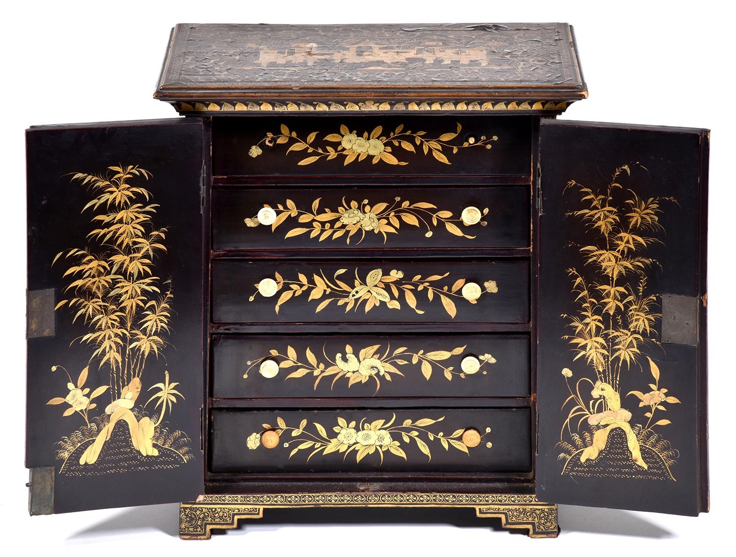 A Chinese black and gold export lacquer table cabinet, early 19th c, the panelled doors enclosing - Image 2 of 2