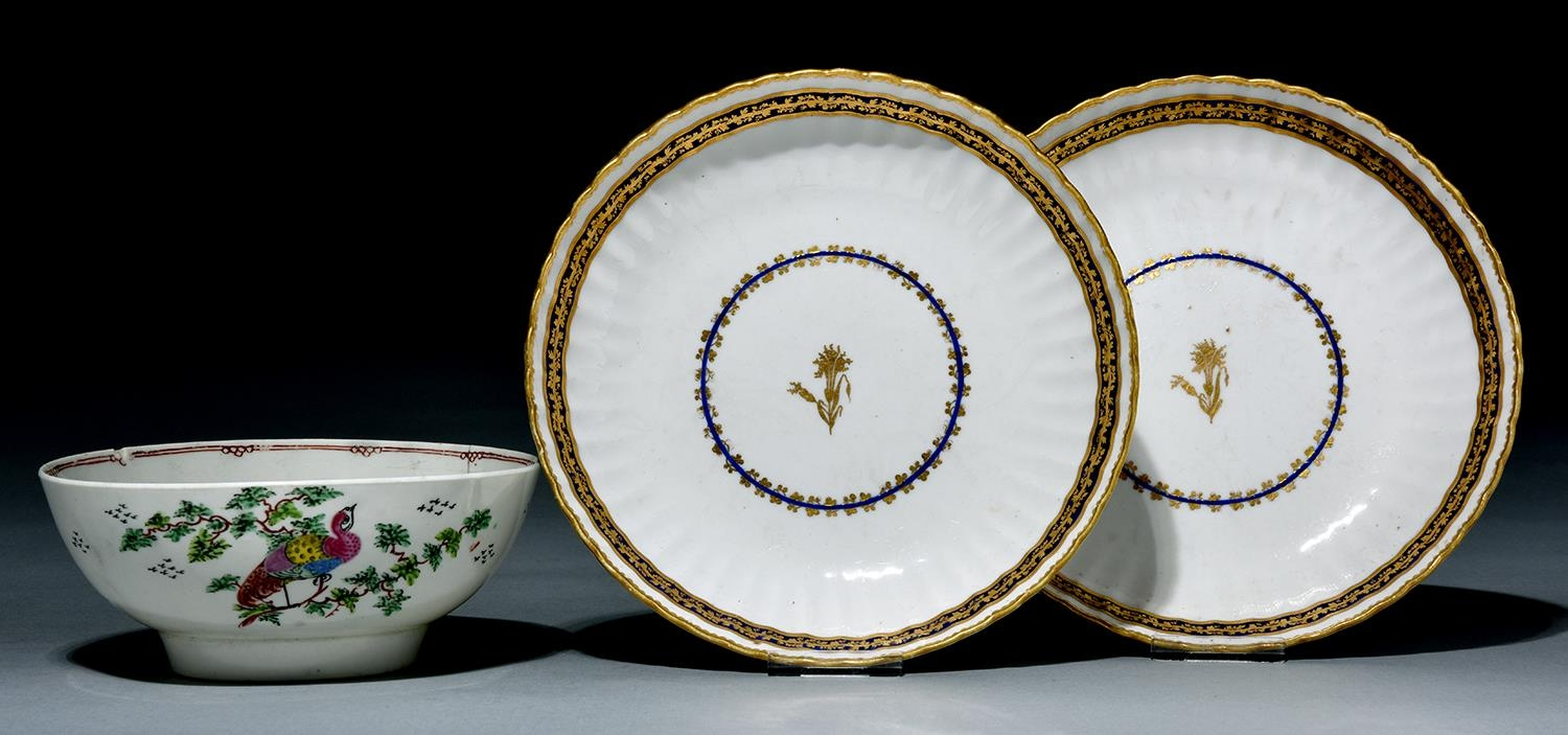 A Liverpool polychrome bowl, Seth Pennington, c1790, painted with an exotic bird perched on a