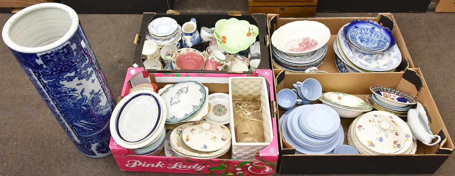 Miscellaneous general ceramics, principally dinner and tea ware, to include blue and white, carnival
