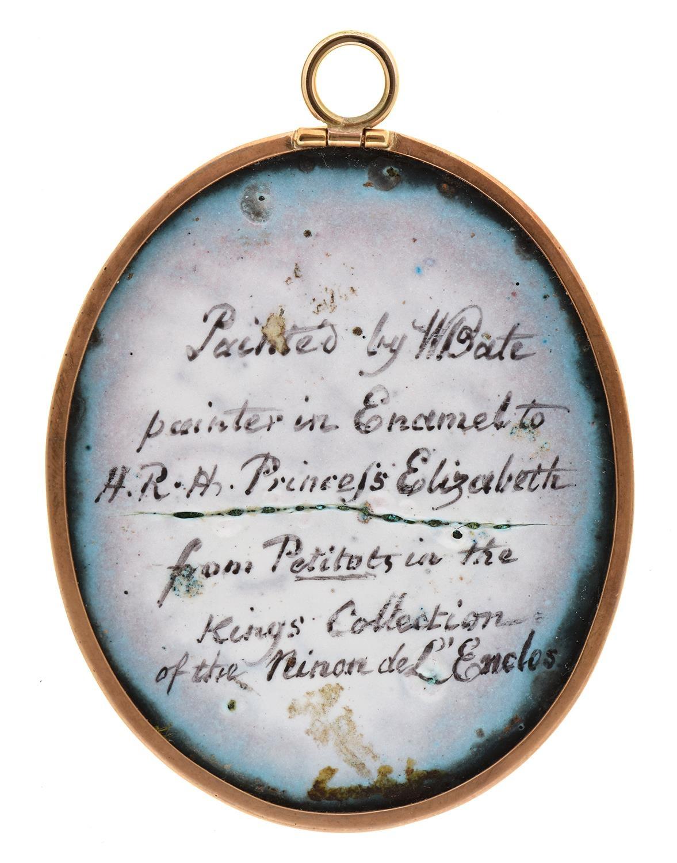 WilliamBate (fl c1799-c1845) after Jean Petitot-Anne 'Ninon' de l'Enclos (1620-1705),signed on the - Image 2 of 2