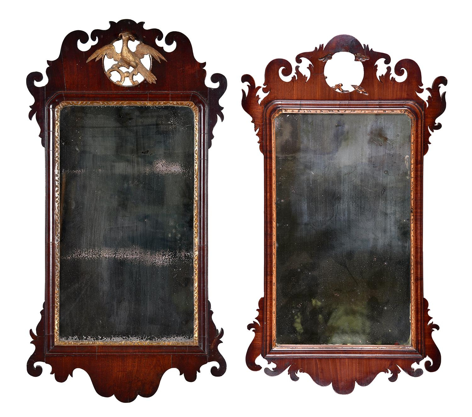A Victorian parcel gilt mahogany fretted frame mirror, in George II style, crested by a Ho-Ho