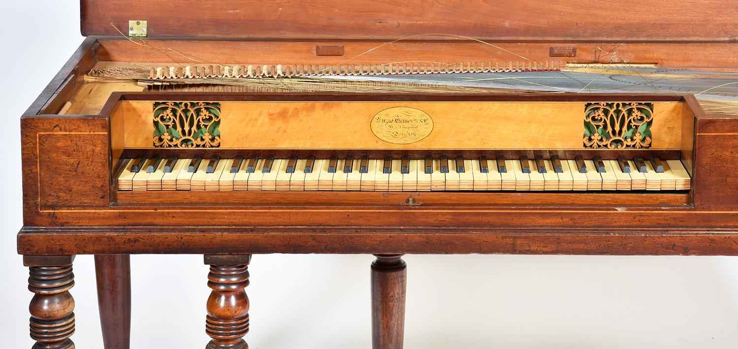 A mahogany square piano, Muzio Clementi & Co, 26 Cheapside London, No 92, c1880, with fretted - Image 3 of 3