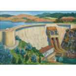 P Lewis, 1960 ' Castelo do Bode Dam, Portugal,signed and dated, oil on hardboard, 62.5 x 90cm