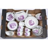 An English porcelain tea service, 'Z' Class, c1800, with bright purple bat prints and silver