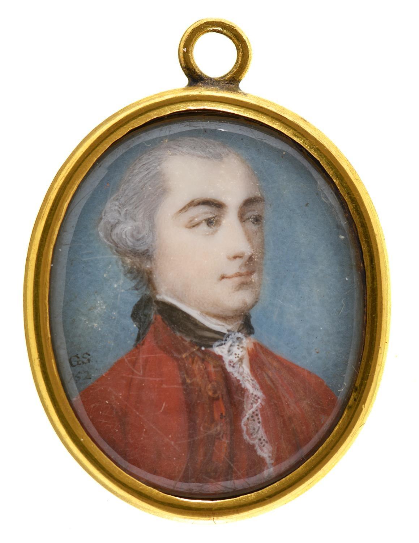 Gervase Spencer (1715-1763) - Portrait Miniature of a Gentleman, in red coat and black stock, signed
