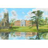 P L Taylor, 1987 ' Staunton Harold Hall, signed and dated, oil on canvas, 59 x 89cm Provenance: