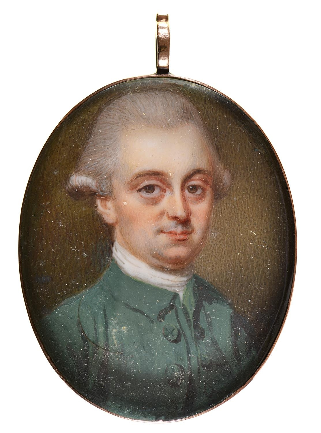EnglishSchool, 18th c - Portrait Miniature of a Man called Oliver Goldsmith, with powdered hair, in