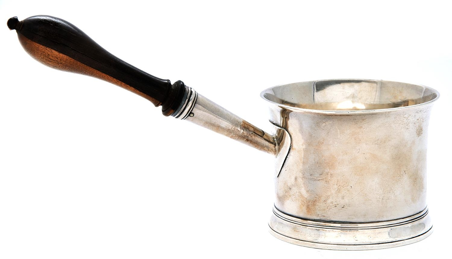 A George III silver saucepan, with flared rim and lignum vitae handle, bowl 6.7cm h, by Walter