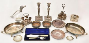 Miscellaneous plated ware, to include a pair of Old Sheffield Plate neo classical candlesticks,