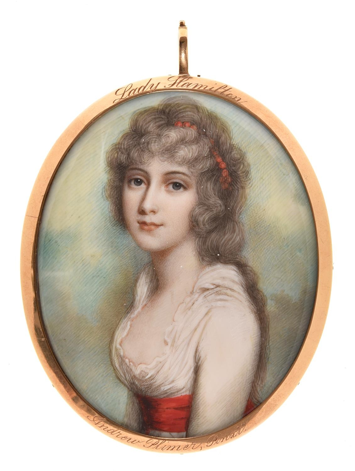Andrew Plimer (1763-1837) - Portrait Miniature of Emma Lady Hamilton, in white dress with red