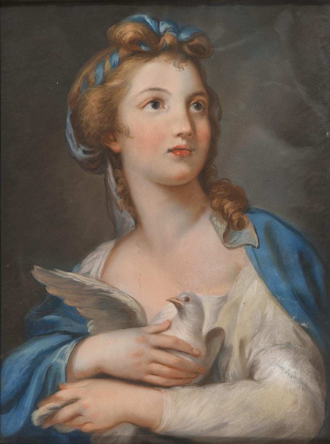 Mary Southwell (1766-1789) – A Young Woman clasping a Dove to her Bossom,pastel, 60 x 45cm