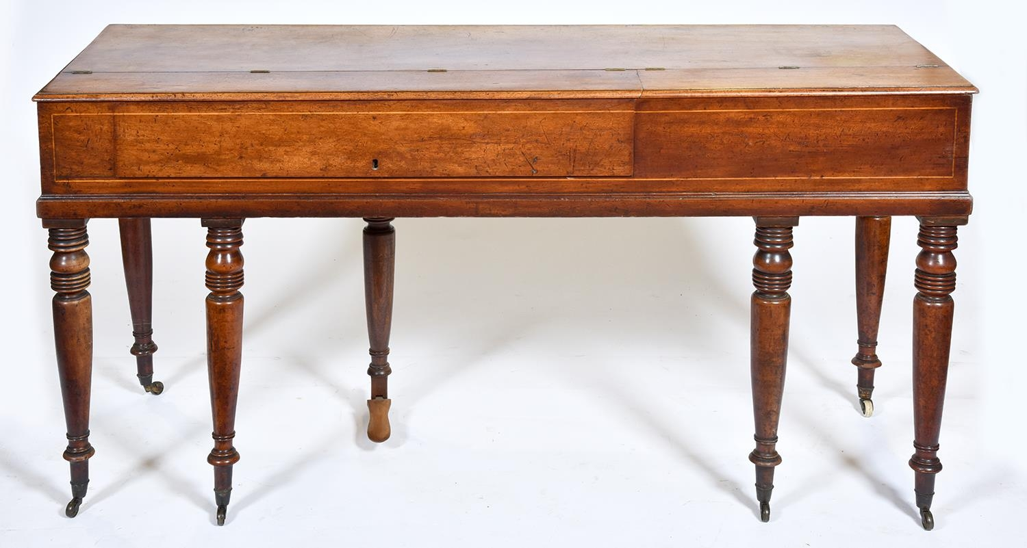 A mahogany square piano, Muzio Clementi & Co, 26 Cheapside London, No 92, c1880, with fretted - Image 2 of 3