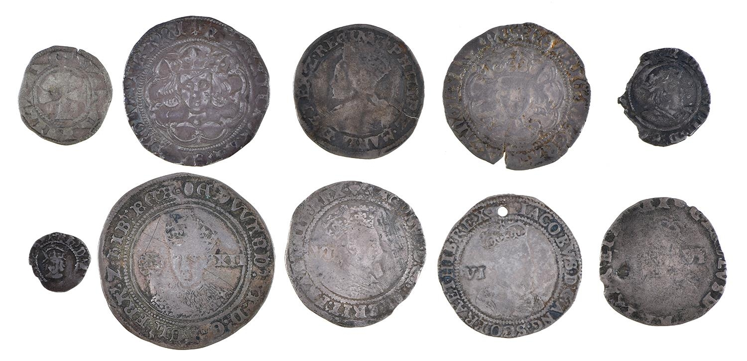 England, Hammered Silver, Henry VI, Groat, annulet issue, Calais, short flan crack, otherwise almost