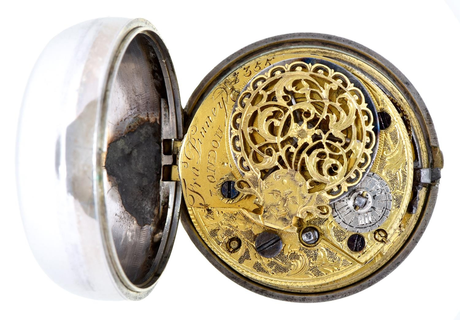An English silver pair cased verge watch, Frans Pinney London, No 8355, with enamelled dial and - Image 3 of 5