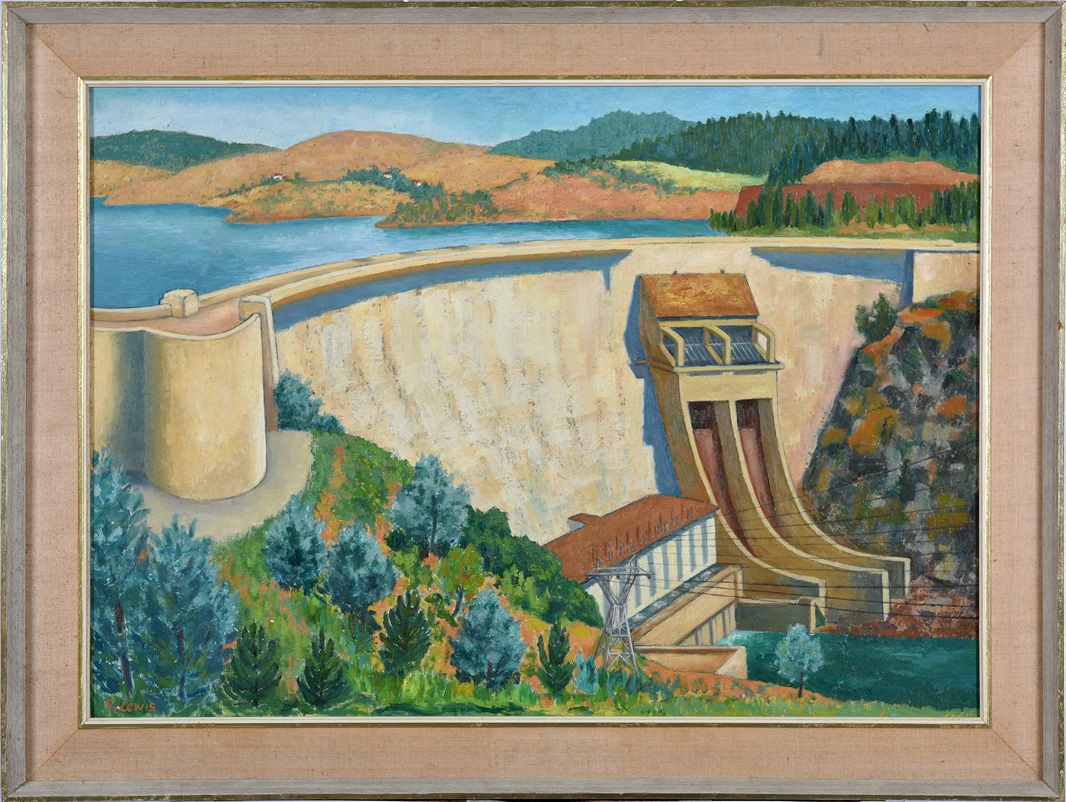 P Lewis, 1960 ' Castelo do Bode Dam, Portugal,signed and dated, oil on hardboard, 62.5 x 90cm - Image 2 of 3