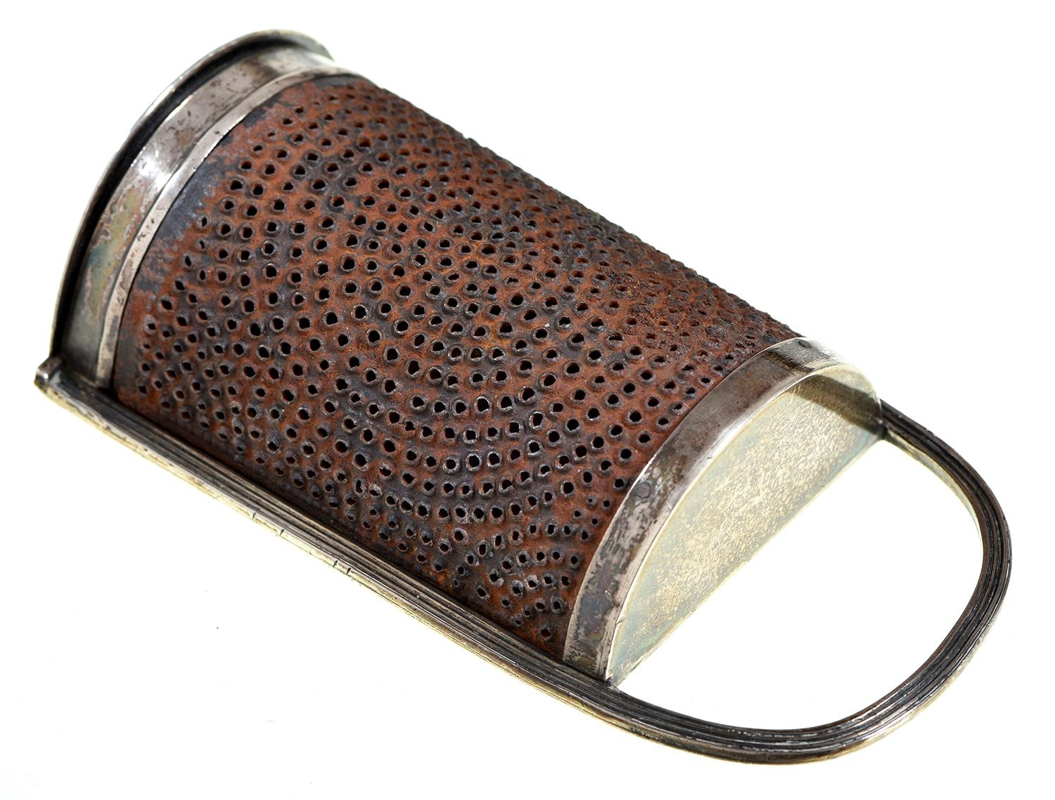 A George III silver nutmeg grater, with reeded frame and steel rasp, integral hinge, 10.7cm h, by