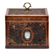 A George III mahogany, line inlaid, quilled paper and mirror inset tea caddy, late 18th c, with