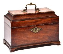 A George III mahogany tea chest, late 18th century, with herringbone stringing, the three caddies to