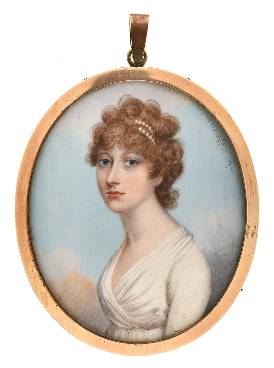 EnglishSchool, c1790 - Portrait Miniature of a Lady, in a white dress and pearls in her curly light