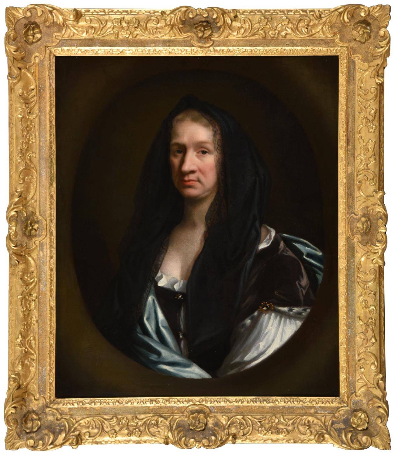 English School, c1690 - Portrait of Eusanna Crawley-Boevey, bust length in a white dress with blue - Image 2 of 3