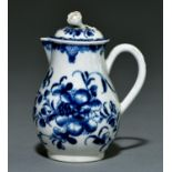 A Worcester sparrow beak hot milk jug and cover, c1770, painted in underglaze blue with the