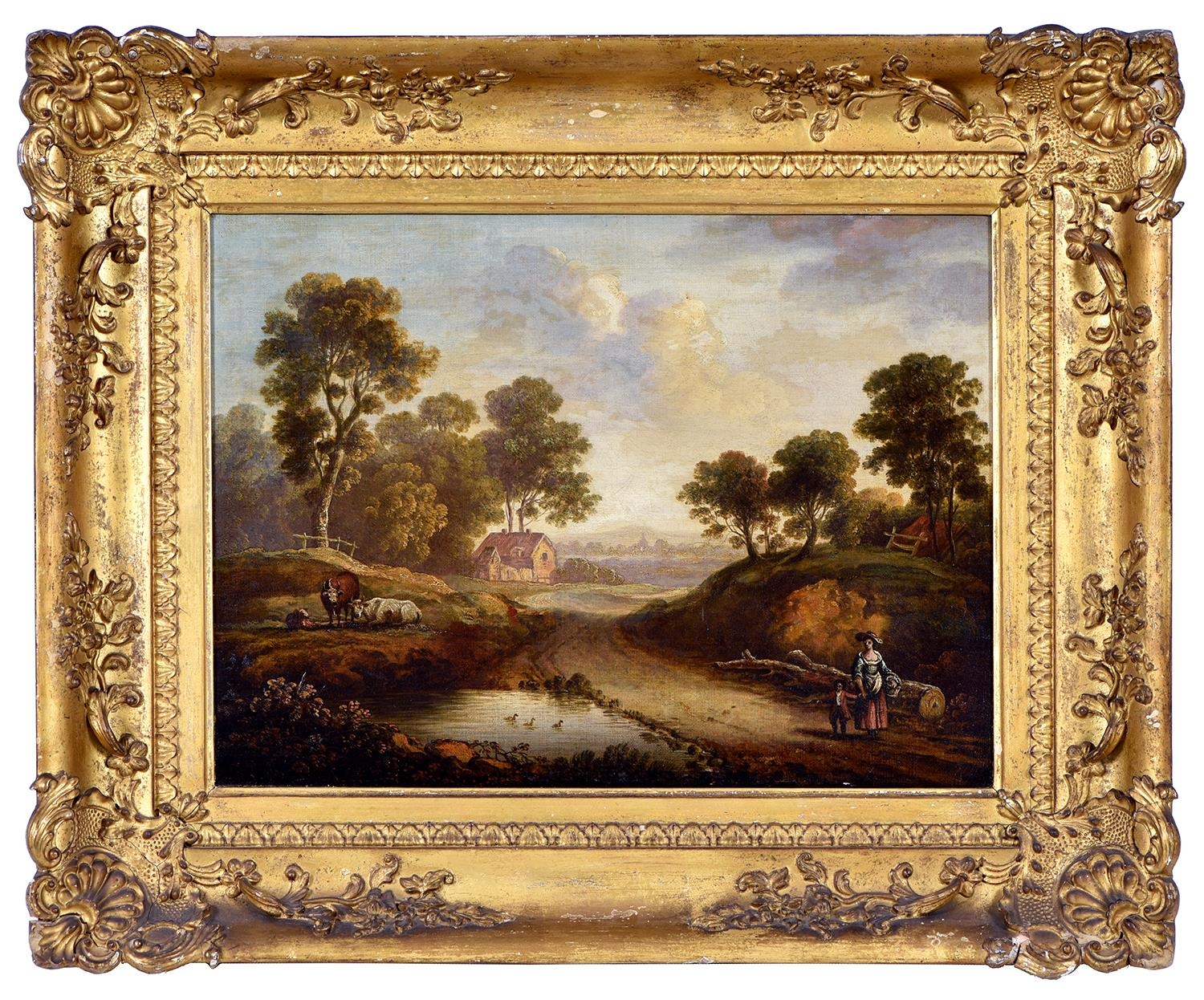 English School, early 19th century ' Wooded Landscape with Figures and Livestock; A Woman and - Image 3 of 6