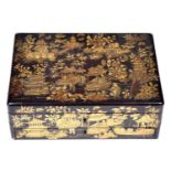 A Chinese black and gold export lacquer box, early 19th c, decorated on all four sides and fitted