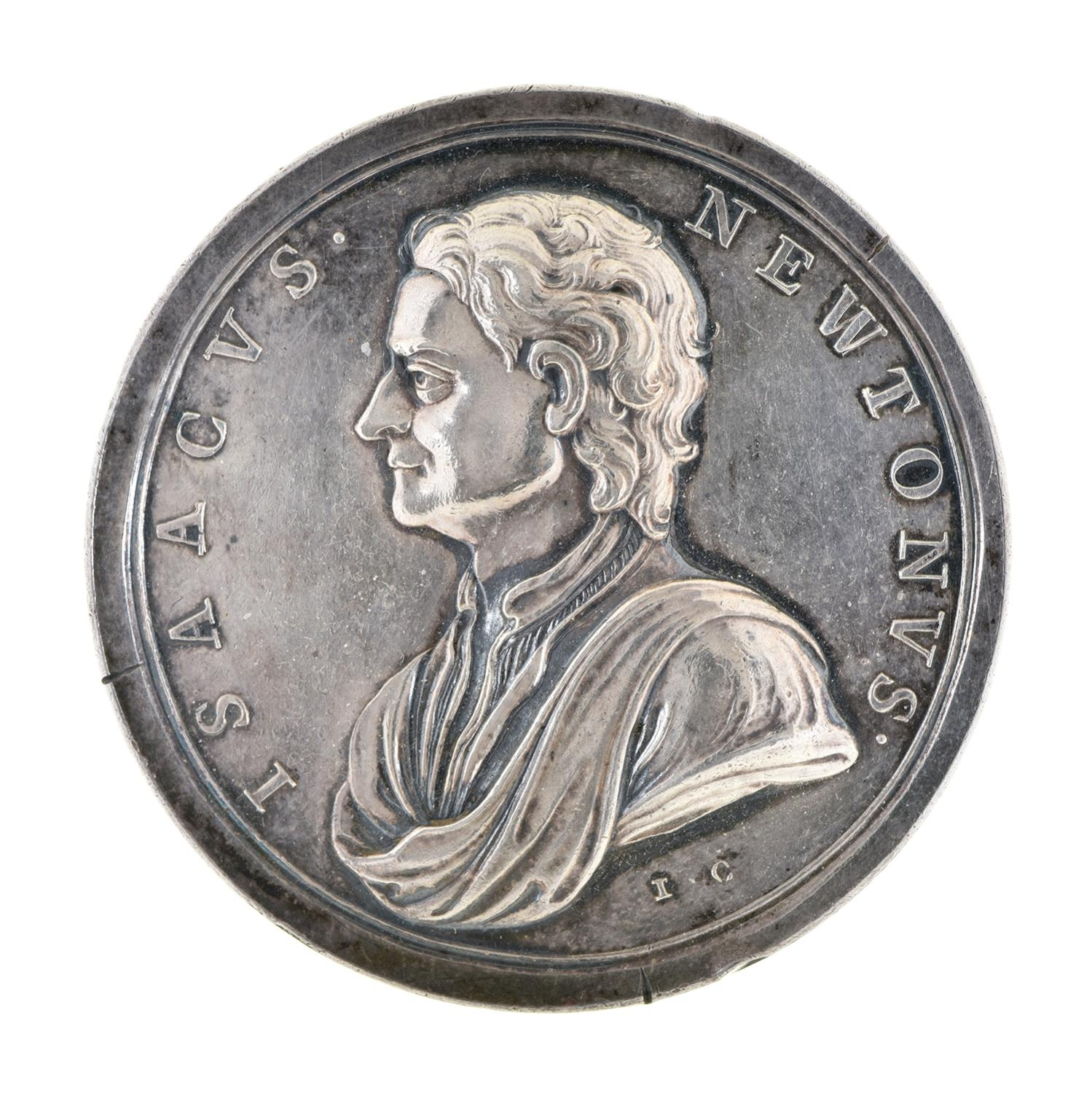 Death of Isaac Newton commemorative silver medal, 1727, struck 1740 by J Croker (Eimer 504) 51mm,