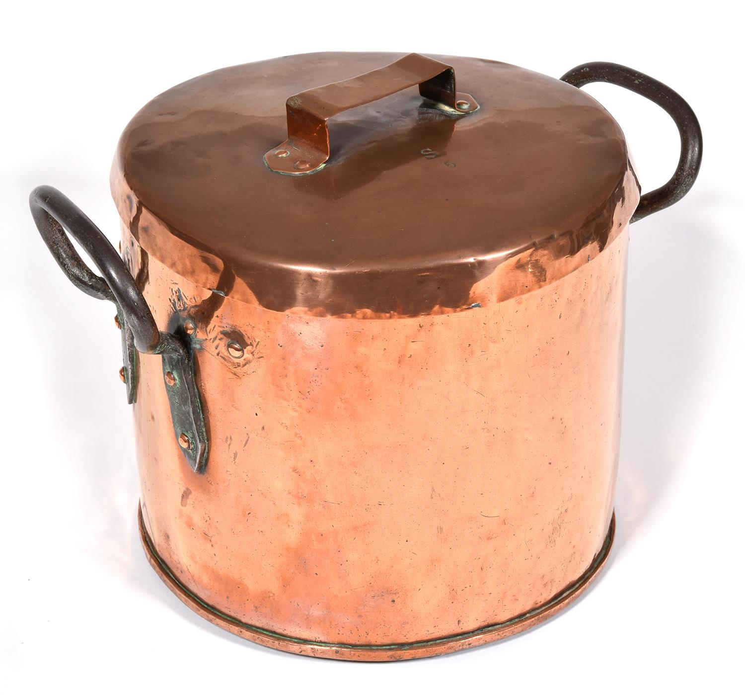 A Victorian cylindrical copper pan and cover, 30cm h, with early replacement iron loop handle, cover