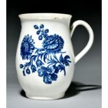 A Worcester baluster mug, c1760-70, transfer printed in underglaze blue with the Natural Sprays