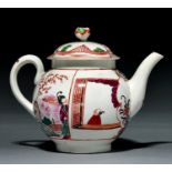 A Worcester polychrome teapot and cover, c1775, painted in famille rose style with a group of
