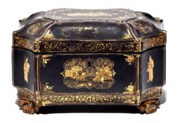 A Chinese black and gold lacquer tea chest, mid 19th c, containing a pair of engraved pewter tea