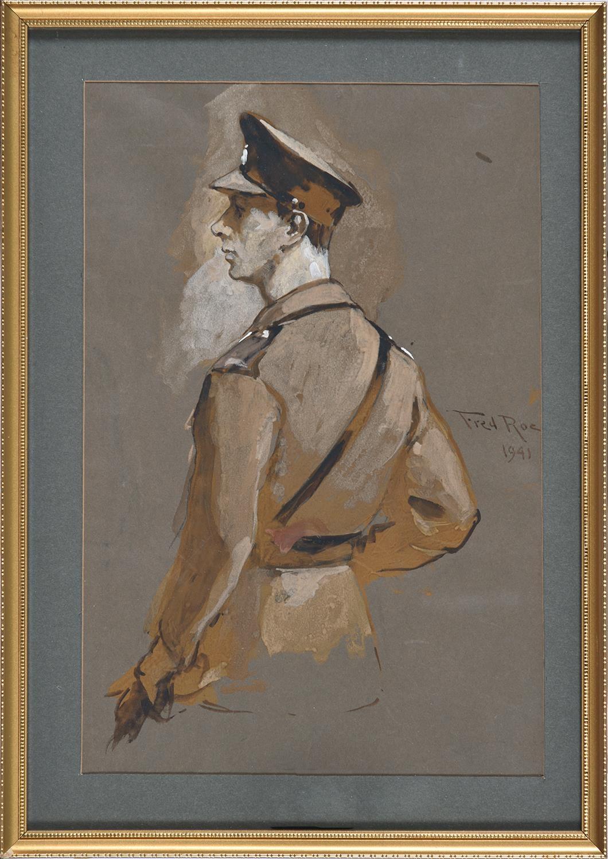 Frederick Roe RI (1864-1947) ' Portrait study of King George VI, half length in uniform, signed - Image 2 of 3