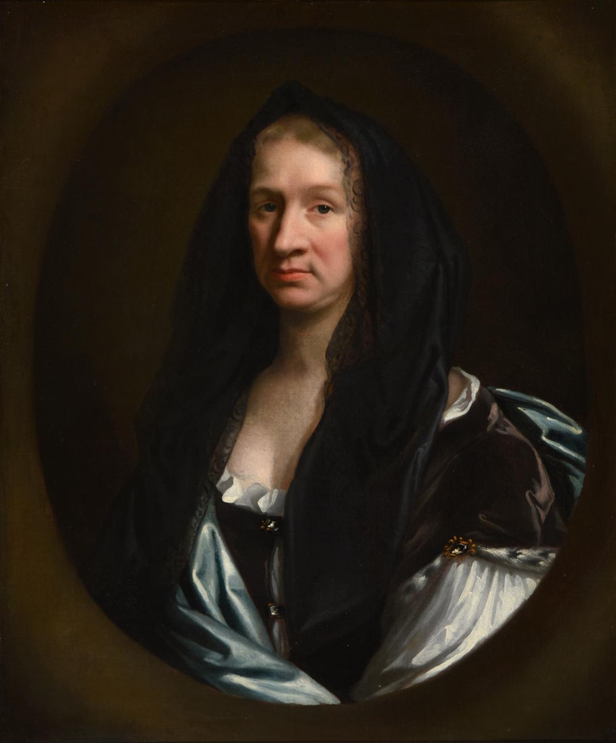 English School, c1690 - Portrait of Eusanna Crawley-Boevey, bust length in a white dress with blue