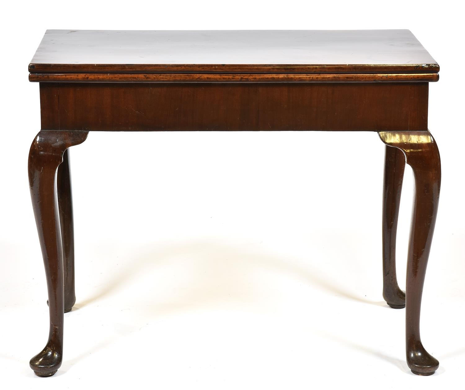A George III concertina-action mahogany card table, mid 18th c, the top with counter wells on
