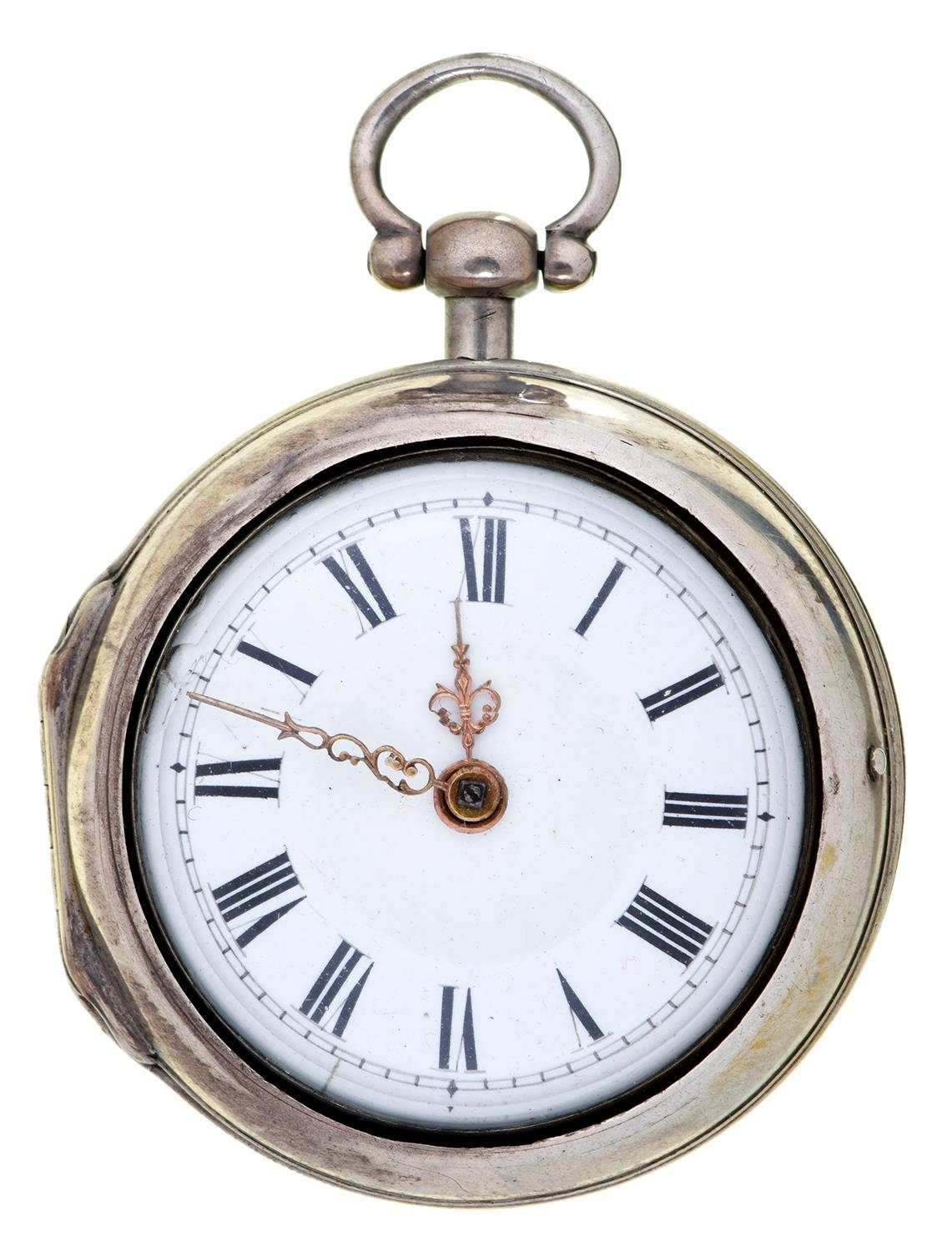 An English silver pair cased verge watch, Frans Pinney London, No 8355, with enamelled dial and