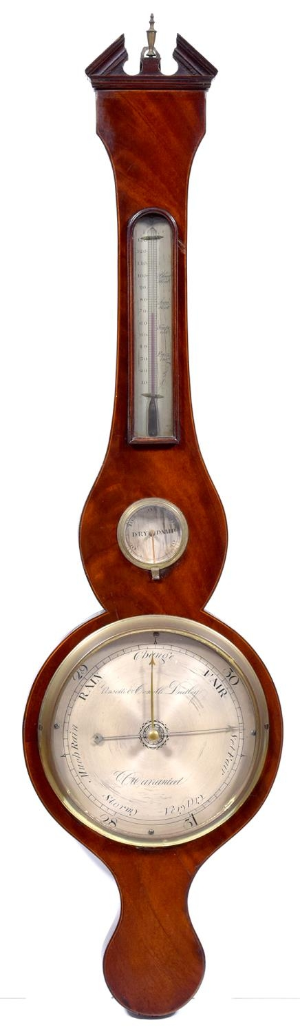A mahogany and line inlaid barometer, Pensotti & Comolli, Dudley, c1830, with engraved and