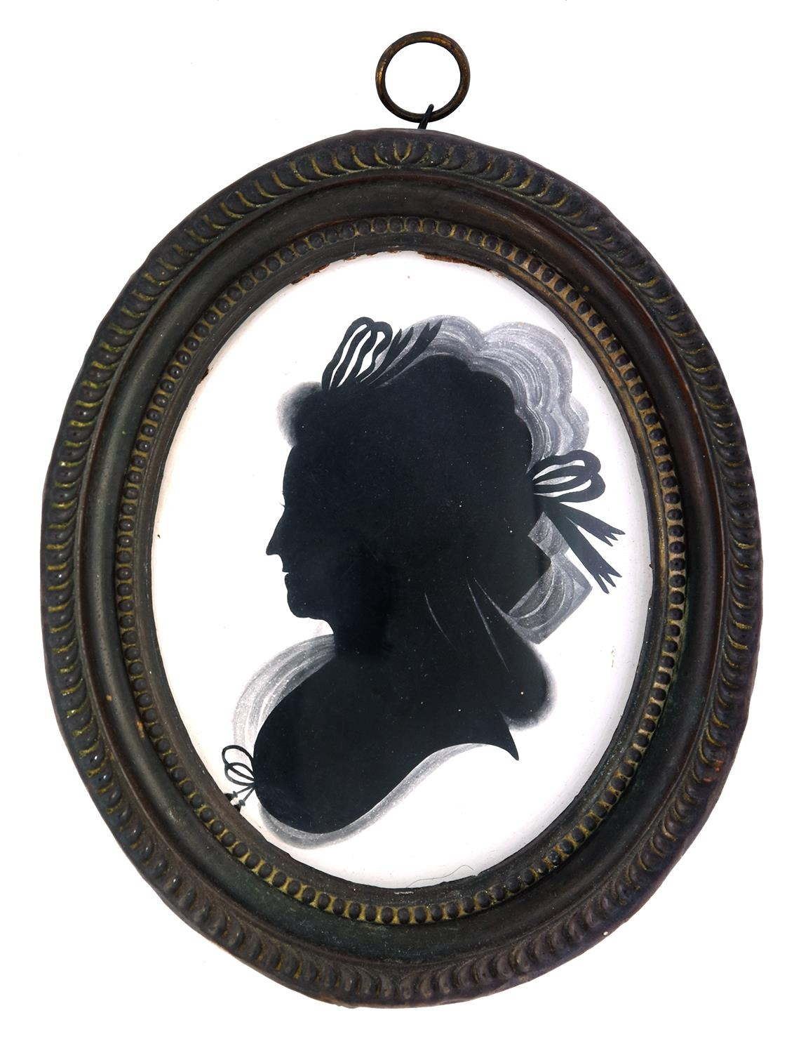 MrsMaryLightfoot (fl. c1785) - Silhouette of a Lady wearing ribbon bows in her hair and fichu,