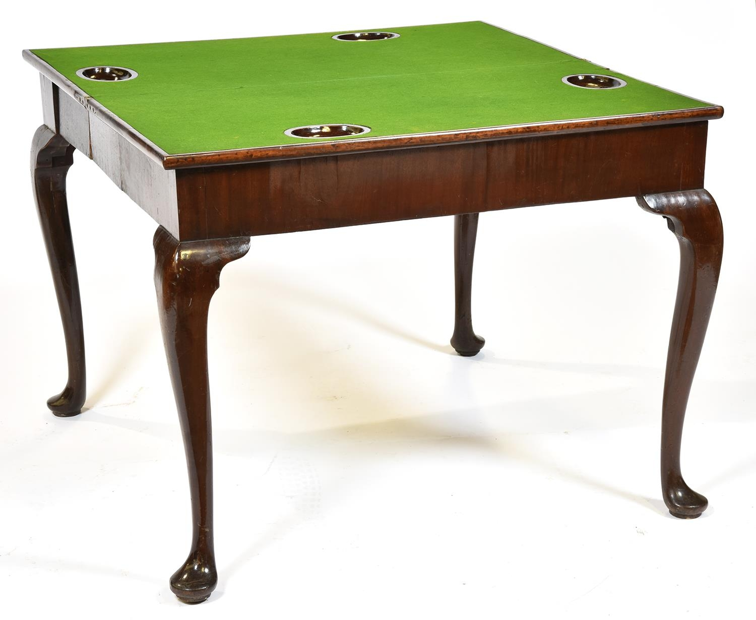 A George III concertina-action mahogany card table, mid 18th c, the top with counter wells on - Image 2 of 2